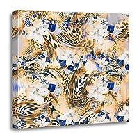 """Emvency Painting キャンバスプリント 木製フレーム アートワーク 葉 フレッシュグリーン 葉 木 オリーブ風 エコ装飾 12x12インチ ウォールアート ホームデコレーション用 20"""" x 20"""" ゴールド"""