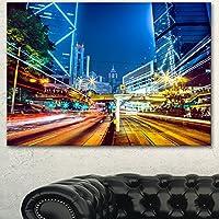 "DesignArt pt14872–3p Hong Kong City Night Scene大きい都市景観アートプリントキャンバスの壁アートキャンバス 20x12"" ゴールド PT14872-20-12"