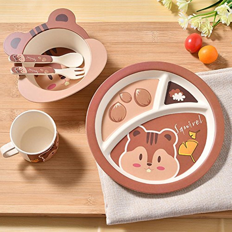 LanLan 5点/セットChildren Cartoonボウル食器セットキュートディッシュボウルマグスプーンフォークFeedingセット6ヶ月以上の赤ちゃん XJSJWJ-1026-LIW12