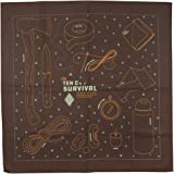 Colter Co. Survival Bandana for Fishing, Camping, Hiking | 100% Cotton, Made in The USA… (Ten C's of Survival, Brown)