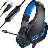 GTRACING 【2020最新版】 ゲーミングヘッドセット PC/PS4/Xbox One/Switch FPS対応 ゲームヘッドセット マイク付き LEDランプ 重低音 強化 騒音抑制 軽量 軽量 通気 ヘッドアーム伸縮可能 最高音質 F8 (F8-BLUE)