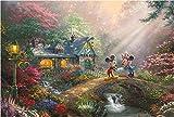 西洋絵画 ディズニー ミッキーアンドミニー スイートハートブリッジ 42x30cm トーマスキンケード Mickey and Minnie Sweetheart Bridge [並行輸入品]