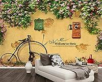 KAHSFA カスタム壁紙ウォールローズぼろぼろの壁自転車メール電話バーカフェテレビの背景の壁3Dの壁紙