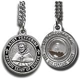 """クリスチャンミント LLC 聖ペレグリン守護聖人メダル 聖ペレグリン土のカプセル付き 18"""" chain シルバー"""