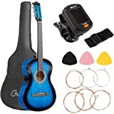 38 Inch Acoustic Guitar Wooden Classical Folk Guitar, Gifts for Beginners(with Tuner String Pick Bag Strap)-Blue