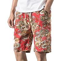 ショートパンツ メンズ Dafanet ハーフパンツ メンズ スポーツ 七分丈 大きいサイズ 花柄 プリント ハワイスタイル ゴムウェスト スイムショーツ スポーツ ビーチパンツ サーフパンツ 短パン 夏 水着