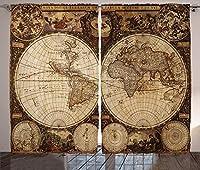 VamJump Wanderlustの装飾遮光カーテン 昼夜目隠し 洗える 遮像 デコレーション 取り付け簡単、1720年代に描かれた旧世界地図ノスタルジックスタイルアート歴史アトラスビンテージデザイン、リビングルームの寝室の装飾、 2枚組 幅135cm丈230cm