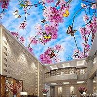 Wuyyii カスタム壁紙3Dフォト壁画男性的花ピーチブロッサム天井天頂壁画3D Wallpaper-350X250Cm