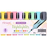 YISAN Highlighters, Chisel Tip Marker Pens, Water Based, Quick Dry, 8 Assorted Pastel Colors 20215