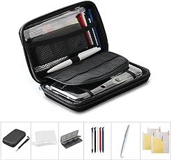 iNepo任天堂ハードポーチケースセット ゲーム機収納袋 タッチペン プラスチックケース カード収納ケース4本 New 3DS XL New 3DS LL (黒)