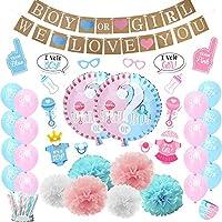 ベビーシャワーパーティーデコレーションBoy or Girl Gender RevealパーティーSuppliesで写真ブース小道具84パック