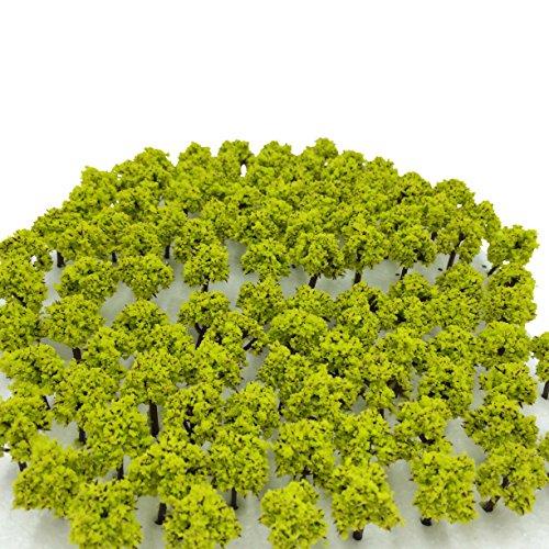 森林 選べる 色 数量 50本 100本 【DauStage】 Nゲージ ジオラマ 鉄道 建築 模型 用 樹木 風景 3㎝ (15,黄緑 100本)