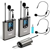 Travor Dual Wireless Lavalier Microphone System with Headset/Lapel Mics with Noise Reduction for DSLR Camera, Smartphones, PA