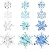 FUTUREPLUSX Christmas Acrylic Snowflake Ornaments, 12PCS 4 Styles Acrylic Crystal Snowflakes Plastic Snowflakes Xmas Tree Pen