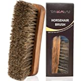 TTTALK 17cm Horsehair Shoe Shine Brush with Horse Hair Bristles by for Boots, Shoes & Other Leather Care (1)
