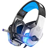 BENGOO V-4 Gaming Headset for Xbox One, PS4, PC, Controller, Noise Cancelling Over Ear Headphones with Mic, LED Light Bass Su