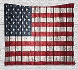 素朴な装飾アメリカUSA国旗タペストリー壁吊りby Ambesonne、7月4日独立記念日Adorn国立民主主義アートRough木製Looking、寮寝室リビングルーム装飾、60?wx80l inches