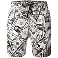 Liudy-shop Amazing US Dollar Currency Money Pattern Men's/Boys Casual Quick-Drying Bath Suits Elastic Waist Beach Pants with Pockets XX-Large