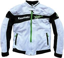 AmzBarley メッシュジャケット バイク Kawasaki カワサキ バイクジャケット オートバイジャケット ライダースジャケット バイクウェア オートバイウエア オールシーズン プロテクター メッシュ通気 バイク用品 KW01(白XXL)