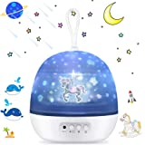 Night Light Projector, SSLHONG 4 in 1 LED Starry Moon Ocean Wave Projector Lamp 360° Rotating 8 Color Modes Baby Kids Nursery