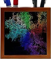 Rikki Knight Rainbow Curls on Black Design 5-Inch Wooden Tile Pen Holder (RK-PH9125) [並行輸入品]