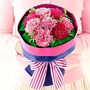 花キューピット 母の日遅れてごめんね ストライプリボンのブーケ(ピンク)