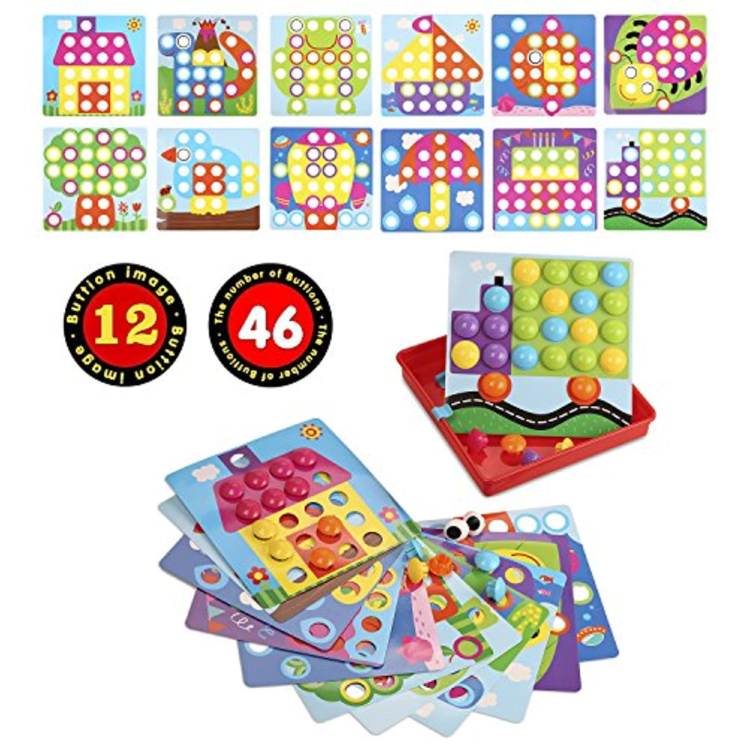 SANMIO Button Art Colour Matching Mosaic Pegboard Early Learning Educational Toys for Boys and Girls