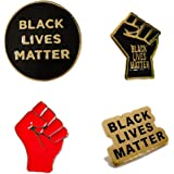 OBMMIRAO BLACK LIVES MATTER Pins Set Buttons, BLM Raised Fist Enamel Pride Lapel Pins for Backpacks,T-shirts,Jackets,Hoodie B