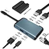 Nintendo Switch TYPE-C 有線LAN アダプター 最強5in1機能 ドック 代わりコンバーター Type-C アダプター USB Type C ハブ イーサネット 高速データ伝送 充電スタンド付け 急速充電 熱対策 コンパクト (グレー)