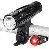 Te-Rich 自転車 ライト LED 防水 800ルーメン 充電式 5点灯モード 高輝度 テールライト付き 保証付き 懐中電灯 ロードバイク ライト キャンプ 防災 停電 釣り SOS 自転車用 ヘッドライト (ブラック)