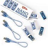 REXQualis Nano V3.0, Nano Board CH340 / ATmega328P with USB Cable, Compatible with Arduino Nano V3.0 (Nano x 3 with Cable)