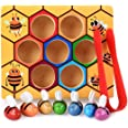 DalosDream Wooden Bee Toddler Fine Motor Skill Toy - Clamp Bee to Hive Matching Game - Montessori Wooden Color Sorting Puzzle