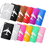 12 Pcs Metal Travel Luggage Tags Aluminium Suitcase Labels with Ropes Bag Tag Stainless Steel Loop Bright Suitcase Tag for Tr