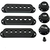 ShareGoo Guitar 3 Single Coil Pickup Cover 2 Tone Knobs 1 Volume Knobs Switch tip,Black