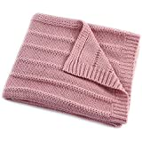 EverGrace Solid Knitted Throw Blanket for Sofa or Couch Cozy Knit Throw Textured Ombré Effect for Bedroom Décor 100% Acrylic Throw W130 x L150cm (Pink)