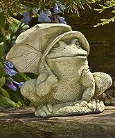 Campania International A-407-EM Bumbershoot Frog Statue English Moss Finish [並行輸入品]
