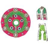 Green & Pink Cloth for Lord Krishan Ladu Laddu Gopal Kanaiya Bal Krishna Dress Poshak Vastra for Little Metal Idol Statue (Si
