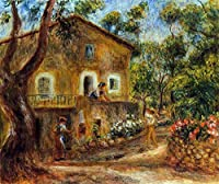 手描き-キャンバスの油絵 - house in collett at cagnes ピエール=オーギュスト・ルノワール 芸術 作品 洋画 ウォールアートデコレーション APR3 -サイズ06
