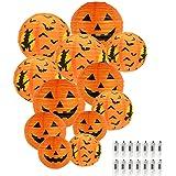 "HAUSPROFI Halloween Jack-O-Lantern 6"" 8"" 10"" 12"" Paper Lanterns Halloween Pumpkin Hanging Paper Lantern for Indoor and Outdoo"