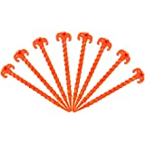 """Canopy Stakes Tent Pegs Beach Tent Stakes Heavy Duty Screw Shape 10"""" 4/8/10 Pack Yellow/Orange"""