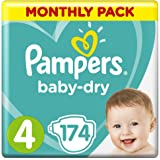 Pampers Baby-Dry Nappies Size 4 Toddler, 174 Nappies, 9 to 14kg, Monthly Pack