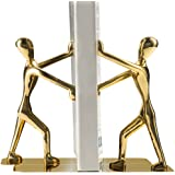 Fasmov Heavy Duty Stainless Steel Man bookends Nonskid Bookends Art Bookend1 Pair(Glod)