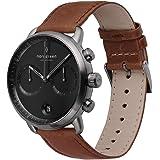 【セット】Nordgreen[ノードグリーン] 【Pioneer】メンズのガンメタル色の42mm腕時計と2本の付け替え可能なベルト・ ブラウンとブラックレザー