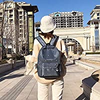 ZHANGYOUDE Small Footprint Pattern Waterproof Oxford Cloth Shoulder Backpack Casual Handbag Shoulder Bag (Black) (Color : Grey)
