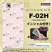 F-02H スマホケース arrows NX ケース アローズ NX ソフトケース イニシャル 花柄・バラ(G) ピンク nk-f02h-tp256ini L