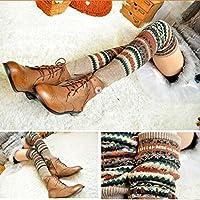 USport Winter Autumn Knee Boots Warm Long Leg Warmers Knit Crochet Socks (Khaki)