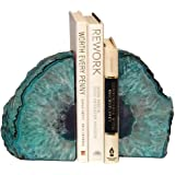 AMOYSTONE Teal Bookends Agate Heavy Stone Book Ends for Records with Rubber Bumpers Small(1 Pair, 2-3 LBS)