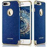 LOHASIC iPhone 7 Plus ケース 肌のような質感 ソフト レザーカバー 耐衝撃 シンプル バンパー メンズ アイフォン7プラスケース-ブルー