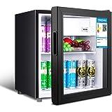 Lxn 黒飲料クーラーおよび冷蔵庫、ガラスのドアが付いている小さい小型アンダーカウンター冷蔵庫、ソーダビールや果物に最適、50L容量、オフィス、寮またはアパートに最適