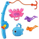 JYELUK 5 Pack Bath Toys, Fishing Floating Squirts Toy and Water Scoop, Bathtub Toys for Preschooler Toddlers Boys Girls